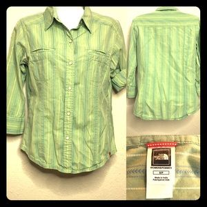 The North Face Sz Sm Pearl Snap Button Up Top Grn